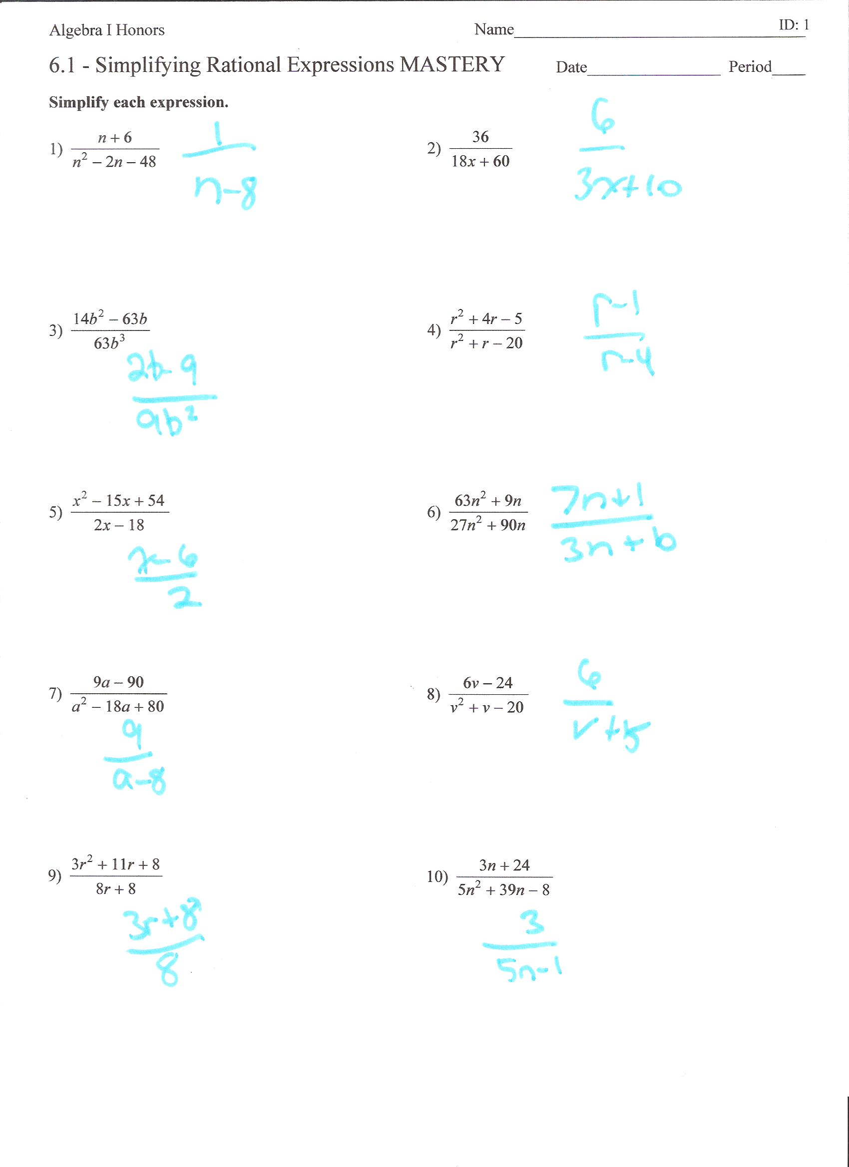 Simplifying Algebraic Fractions Worksheets – Algebraic Fractions Worksheet with Answers